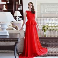 100% REAL PHOTOS red wedding dress 2014 with lace bodice on chiffon vestido de novia  M6