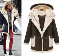 Large size women new winter coat thick lamb's women's wool blended bouble-breasted coat winter coat women woollen coat