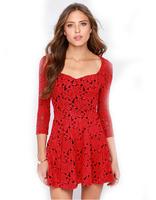 vestidos New 2015 Winter Dress Women Dress Red Rose Flower Hollow Out Design Three Quarter Evening dress Good Quality Free Ship