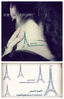 4 sheets/set temporary Tattoos stickers fashion Eiffel Tower in Paris body sticker for men women free shipping OEM wholesale