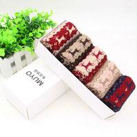 New 2014Christmas Snowflake Deer Design Wool socks women thermal winter wool socks thicken towel 100% cotton socks gift sock box