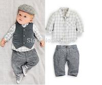 QZ073 Free shipping 2014 spring autumn 5sets/lot baby boy suit blouse+pants+vest 3 pcs boys set gentleman children set wholesale