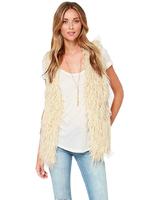 2014 New Fashion Free shipping Autumn Winter lamb wool Faux Fur vest Women's Faux Fur Sleeveless Coat Beige Top quality
