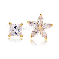 Wedding zircon stud earrings for bridal fashion women jewelry flower and box design