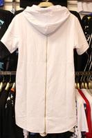 Men t shirt tyga cool oversized Gold side zipper hip hop extended hood t-shirt tee top hba jay-z casual lengthen tee shirt