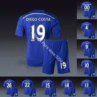 2014 chelsea home blue soccer jerseys short white socks football uniforms kits diego costa fabregas oscar hazard drogba terry