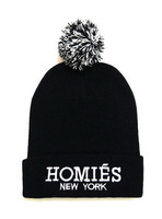Black Homies Pom Pom Beanie Winter Knitted Hat With Words Skullies Head Cap For Women and Men