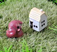 mini morld red dog house 2pcs/set  ZAKKA 3D simulation resin doll Mosses Micro Landscape Bonsai Aquarium Decoration DIY material
