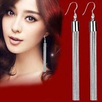 30 % 925 Bling Pure Silver Long Tassel Design Drop Dangle Earrings Hook Women Bridal  Wedding Party Jewellery Accessories