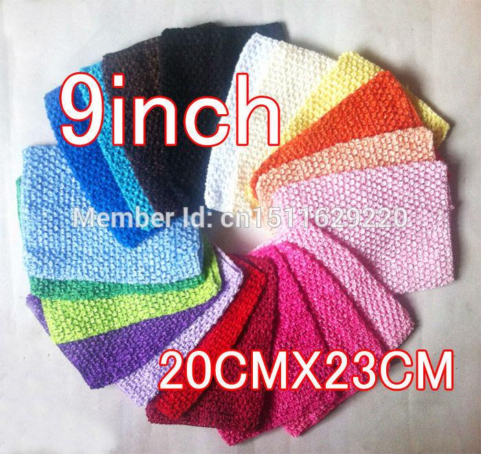 "2014 cute baby crochet headbands 9"" elastic hairbands 20*23cm waffle string tutu tube children halter tops hair bands 35pcs(China (Mainland))"