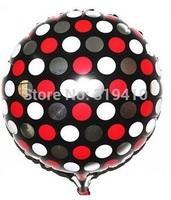 18 inch foil round balloon metallic balloons dot pattern balloon black white red 50pcs