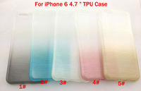"1PCS TPU Silicon Case For iPhone 6 4.7 "" Luxury Rainbow Gradient Colorful Silicone Covers 5 Colors Mobile Phone Bags Cases"