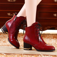 British style pointed toe thick heels shoes high-heeled boots martin boots 8879 - 6