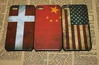 50 pcs/lot Vintage National Flag Design for iphone 4/4s 19 country flags hard plastic back case DHL Drop Ship wholesale