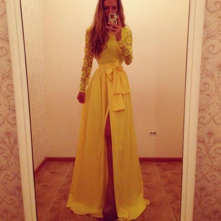 элегантные желтые кружева пэчворк империи кружево-Платье
