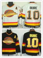 Cheap Vancouver Canucks #10 Pavel Bure Throwback Vintage CCM Hockey Jerseys Home Black Road White Stitched Jerseys,Size M-XXXL