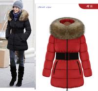 New 2014 Jacket Women Winter Coat Thicken Slim Female Raccoon Fur Collar And Long Coat Women Parka Winter Coat Plus Size L-3XL