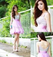 Charming A line Chiffon Purple Sexy V-neck Vestidos de fiesta 2014 Beaded Crystal Short Homecoming Dress Prom Dress Party Dress