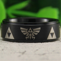 Free Shipping USA UK Canada Russia Brazil Hot Sales 8MM Satin Black Steps Comfort Fit Legend of Zelda New Tungsten Wedding Ring