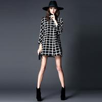 2014 112628  fashion brief fashion check jacquard high quality wool overcoat