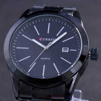 Classical Business Men Full Steel Quartz Watches Black Stainless Steel Simple Style Luxury Brand Fashion Analog Wristwatches