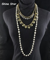 Fashion Gold Metal Multirow Choker Chain Heart Bead Crystal Pendant Statement Sweater Long Pearl Chain Necklace Jewelry Item,C81