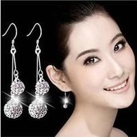 30% 925 Pure Silver Bling Long Tassel Design Rhinestone Ball  Earrings Drop Hook  Jewellery Accessories Bridal Wedding Party
