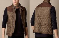 Hot New 2014 Men Fashion Brand British Cotton Padded Vest Coat/Designer London Zipper Casual Waist Coat P21020 M-XXL