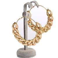 Brand Fashions Jewelry Gold Big Large Bamboo Chain Circle Brincos Argola Filled Bijou Hoops Earrings For Women Nickel Free
