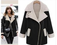 Retro suede thick lamb's wool coat female winter long section of a large lapel coat locomotive women  coat