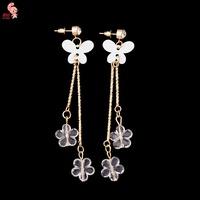 New Fashion Butterfly Strong Statement Dangle Earring For Women Shining Heart Drop Earrings