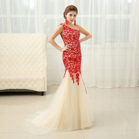 100% Actual Images Korean Style Floor Length Lace Bandage Slim Evening Dresses Maxi Dress Free Shipping  LF264