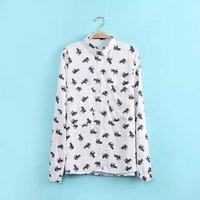 New Fashion Ladies' elegant cute elephant print blouses vintage turn down collar long sleeve OL shirt casual slim brand top