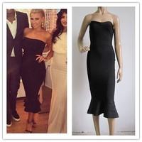 2014 Strapless HL Black Vestido de festa dresses kim kardashian Bandage dresses celebrity Dresses Drop Shipping