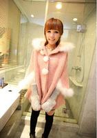 2014 New Free shipping Simple Leisure Pure Color Sweet Korean Sweet Style Rabbit Fur Collar Cape Overcoat Bat Sleeve Coat