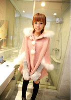 2014 New Free shipping Simple Leisure Pure Color Sweet Korean Sweet Style Rabbit Fur Collar Cape Overcoat Bat Sleeve Coat