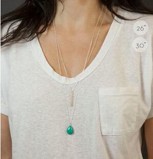 TX1215 Korean Jewelry Ladies Double Chain turquoise metal strip elegant double layer long necklaces pendants