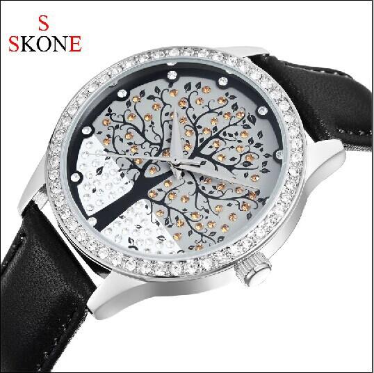 Hot! SKONE Brand Fashion Rhinestone Christmas Tree Decorated Female Dress Watches, Women Leather Quartz Watch, Free Shipping(China (Mainland))