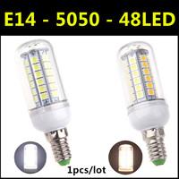 Free Shipping High brightness SMD 5050 LED Lamp E14 8W 48led AC 220V-240V Warm White/White Corn Bulb Christmas Lights