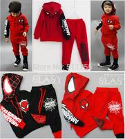 2015 spiderman children's clothing sets hoodies pants spider man kids boy sport suit baby girls Sweatshirt spring Autumn clothes