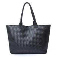 2015 New Casual Women High Quality PU Leather Handbag Tote Shoulder Bags Large Capacity PU Weave Bag Fashion Design Wholesale