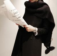 2014 New Hot Fashion Big Fur Ball Scarves Winter Big Shawl Warm Casual woman Wool Knitting Scarf