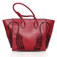 Free shipping Women 2014 New Fashion Cross Grain leather Handbags Women Punk Rivet Shoulder Bags Casual Women Tote Bag 7570C.