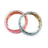 Trendy Vintage Multicolour Jewelry Handmade Fashion Acrylic Bangles Bohemian Women Alloy Charm Bracelets