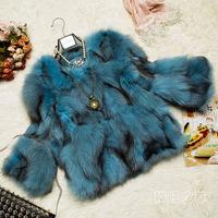 New style winter new fox fur  coat sleeve for women real fox fur warm blue fox grass short paragraph free shipping