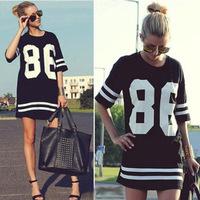 HOT 2015 Summer Women Fashion Celebrity 86 Number Print Long T Shirts Hip Hop USA American Baseball Tee Pyrex T-shirt Dress
