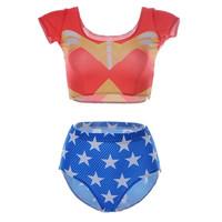 Swimwear Tankini Swimsuits 2014 New Brand Sexy WONDER WOMAN Digital Print Suit Top + Bottom Women Swimsuit S125-193