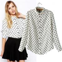 2015 Trendy Women Black Cloud Print Shirts Women Cute White Shirts Party Casual Street Blouses Spring Summer Fashion Show Shirts