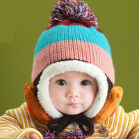 Baby Bear Stripe Beanie Hat Plus Velvet Thick Knitted Wool Cap