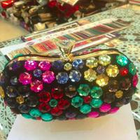 2014 New Custom Women multicolor Rhinestone Clutch Flowers Shaped Crystal Evening Bag Party Wedding Handbag Purse